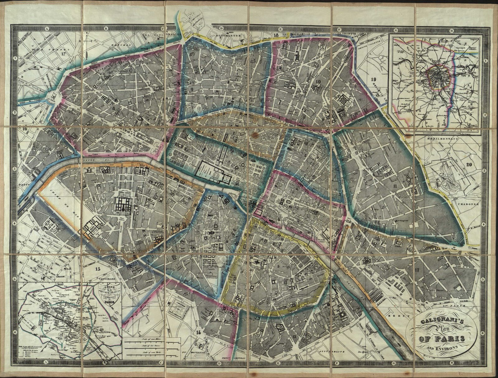 a 19thc map of paris for english tourists