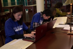 Students transcribing letters