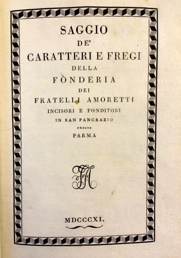 Title page of Amoretti specimen